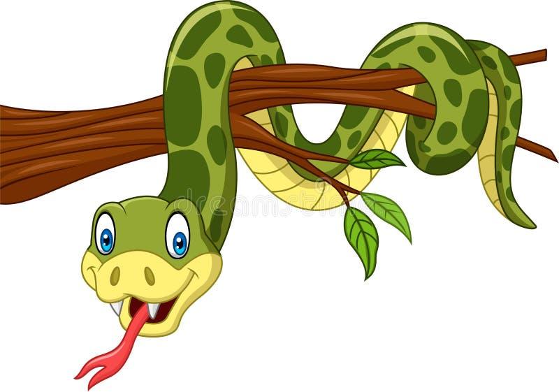Serpiente verde de la historieta en rama de árbol stock de ilustración