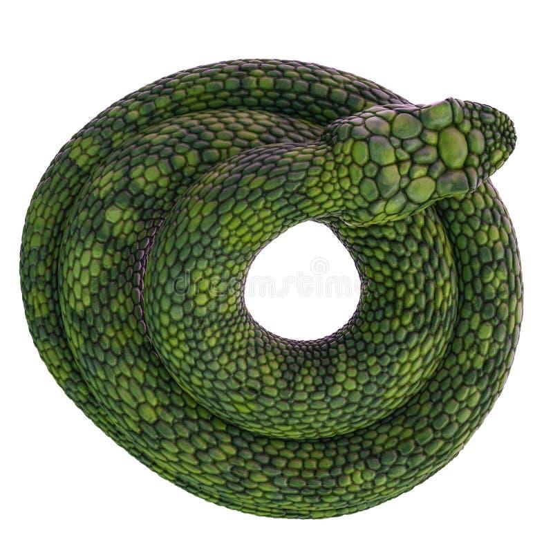 Serpiente verde gigante en un fondo blanco stock de ilustración