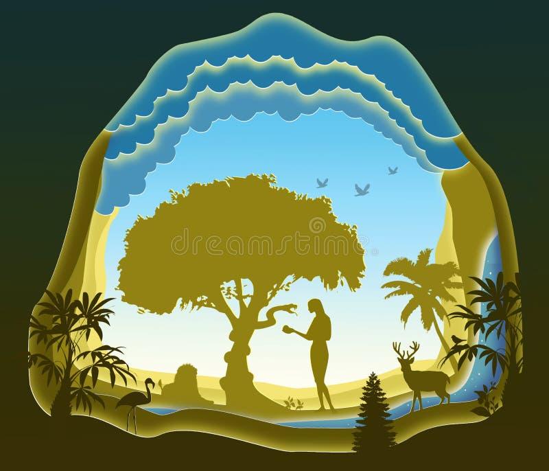 Serpiente y Eve Jardín de Eden La caída del hombre Arte de papel stock de ilustración
