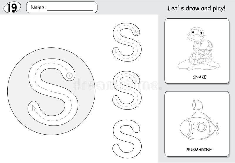 Serpiente y submarino de la historieta Hoja de trabajo de trazado del alfabeto: escritura ilustración del vector