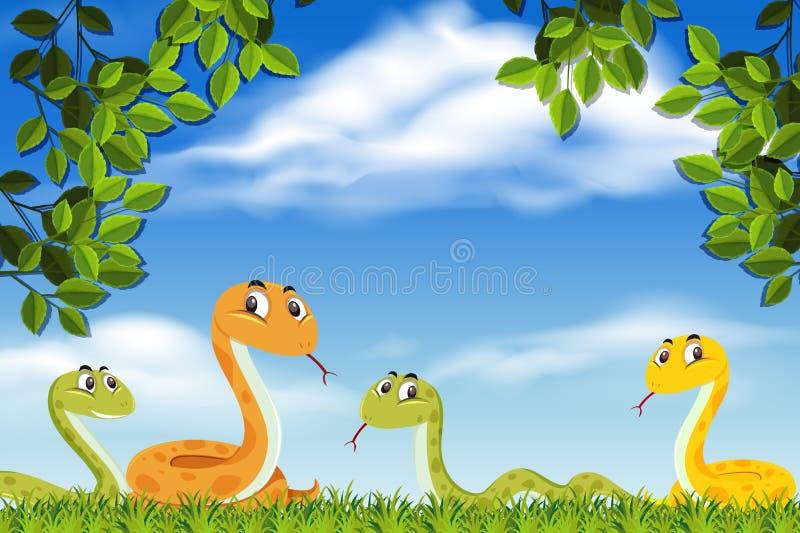 Serpientes en escena de la naturaleza libre illustration