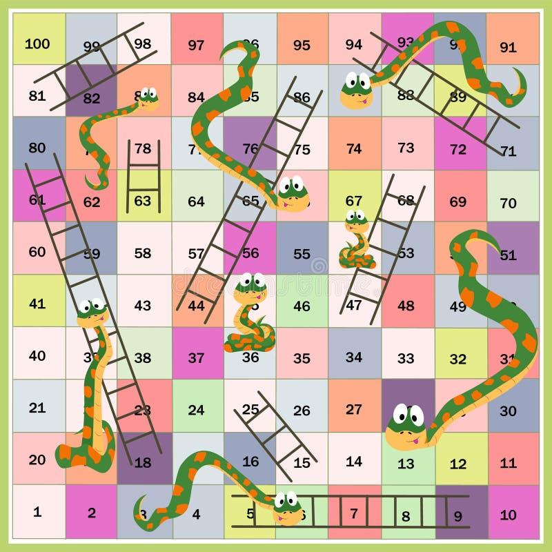 Serpientes y boardgame de las escaleras para los niños Estilo de la historieta Ilustración del vector libre illustration