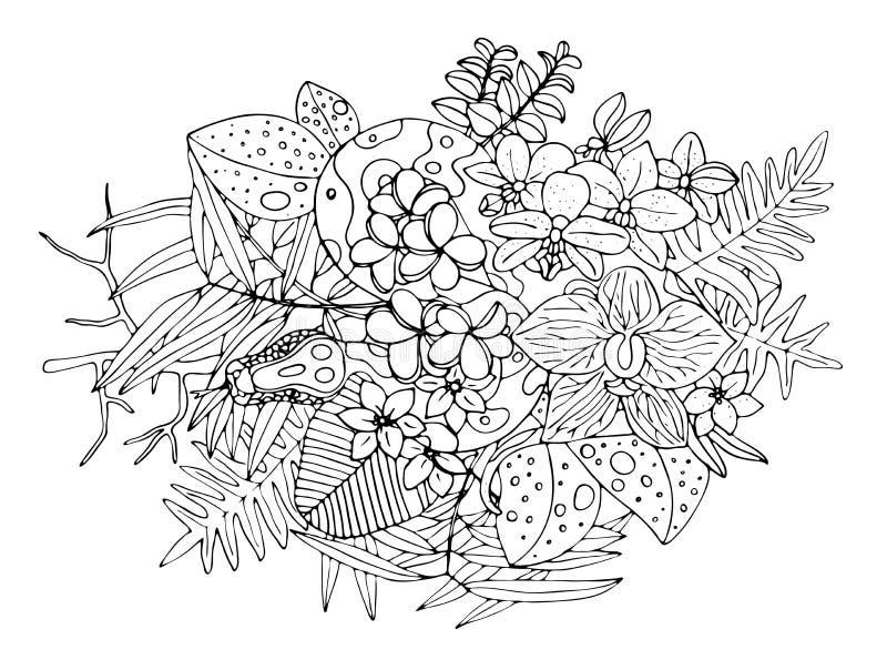 Serpientes y flores Arte del tatuaje, libros de colorear D? el ejemplo exhausto del vector del vintage aislado en el fondo blanco libre illustration