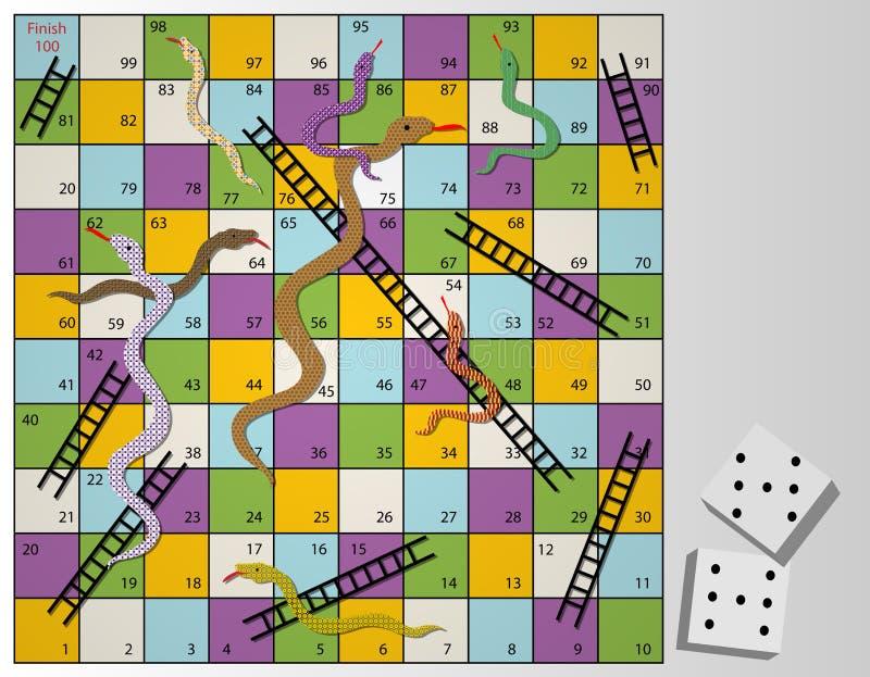 Serpientes y juego de mesa de las escaleras ilustración del vector