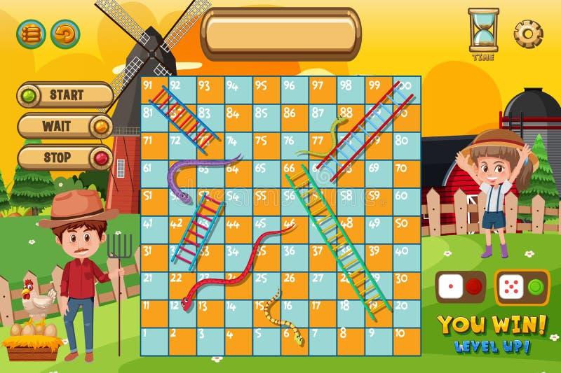 Serpientes y plantilla del juego de las escaleras con el granjero y el molino de viento ilustración del vector