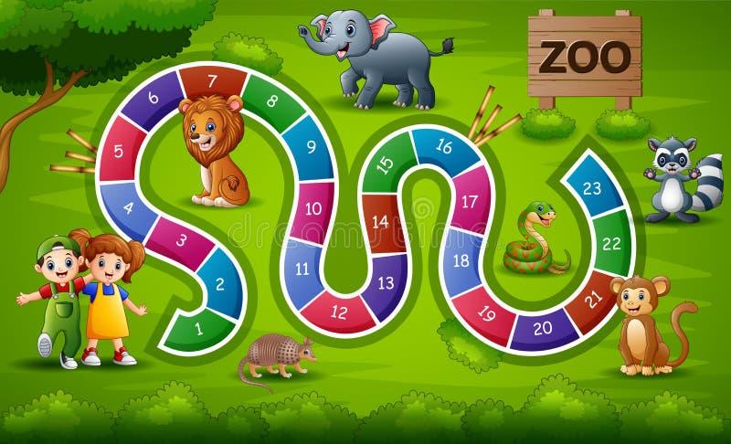 Serpientes y tema del parque zoológico del juego de las escaleras ilustración del vector