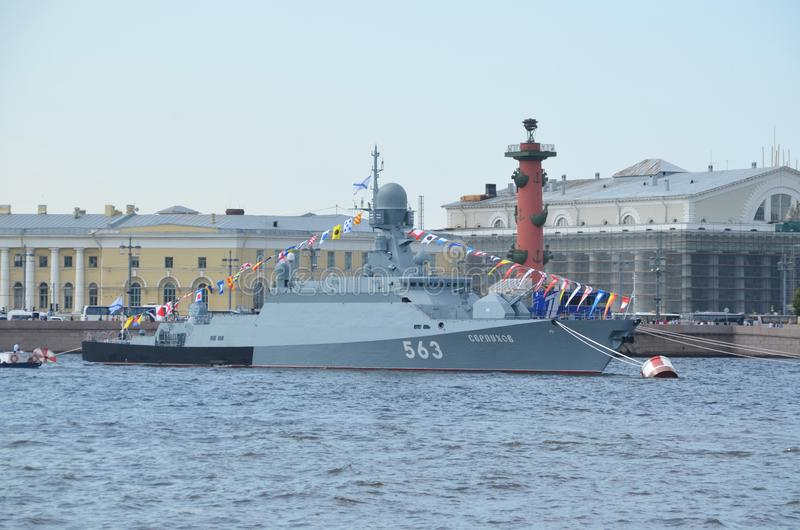 Serpukhov small rocket ship. SAINT-PETERSBURG, RUSSIA - JULY 22, 2019: Serpukhov small rocket ship on the Neva river, St. Petersburg, Russia stock photo