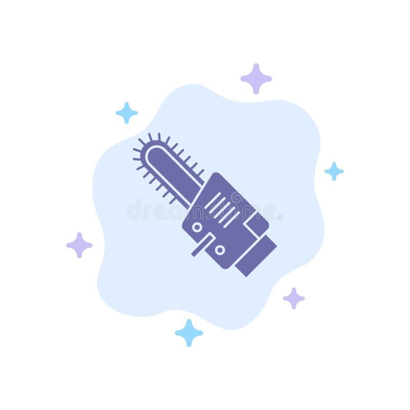 Serra, circular, lâmina, ícone azul sem corda no fundo abstrato da nuvem ilustração royalty free