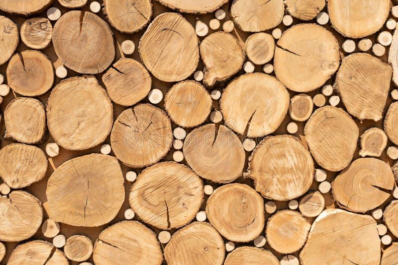 A serra corta a textura do projeto Fundo dos cotoes de ?rvore Os cortes do log fecham-se acima Pilha de registros Fim acima imagem de stock