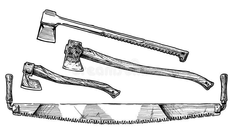 Serra de fender, felling e machados de rachadura ilustração royalty free