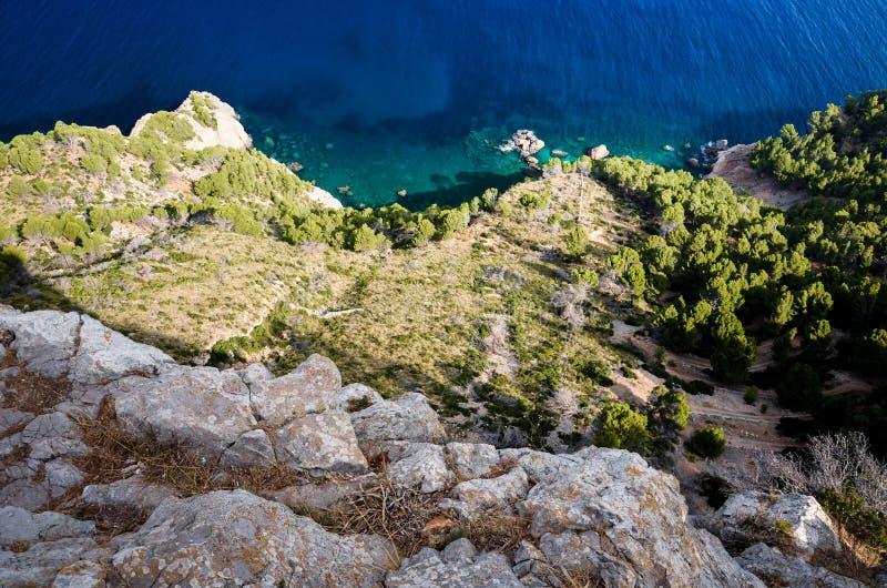 Serra de Tramuntana沿海在马略卡,西班牙,欧洲 免版税库存图片