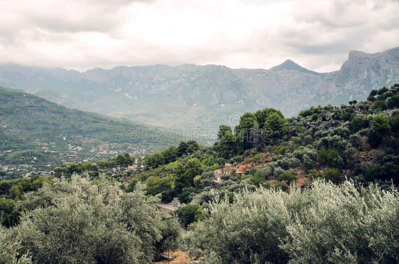 Serra de Tramuntana-Berge nahe der Stadt Hafende Soller in Majorca, Spanien, Europa stockfoto