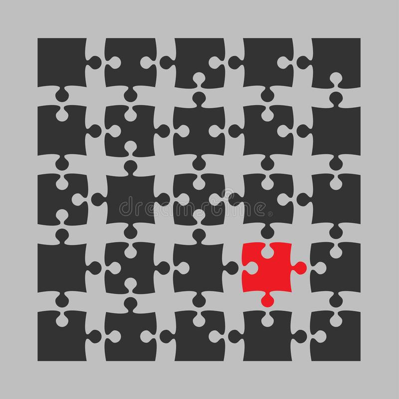Serra de vaivém de 25 enigmas Objeto do vetor parte Diferente ilustração royalty free