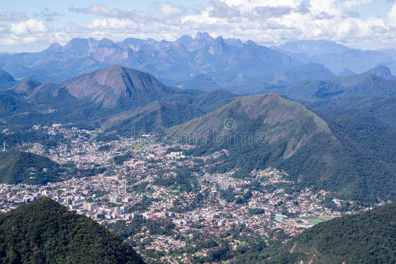 Serra dos orgaos. Chain of mountains in Rio de Janeiro this photo was taken on a trekking trail that goes from Petropolis to Teresopolis & x28;city seen on the stock images