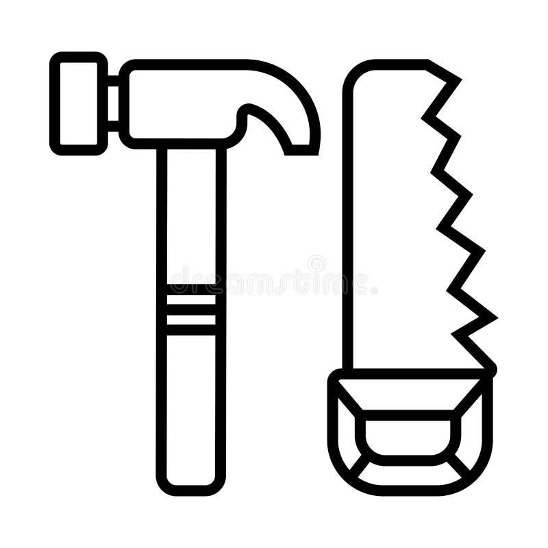 Serra, hummer, ícone do martelo ilustração do vetor