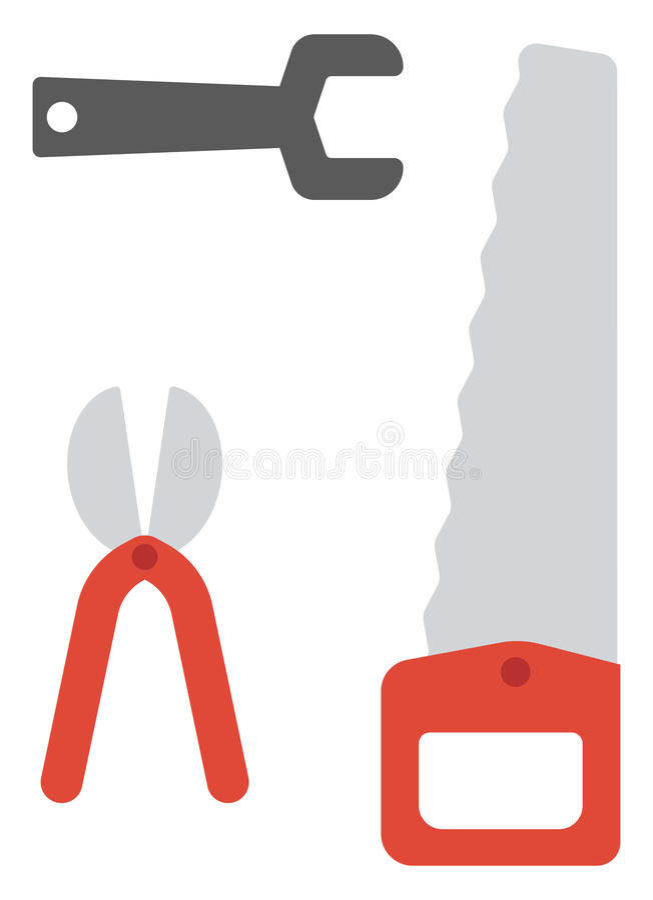 Serra, tesoura de podar manual e chave ilustração stock