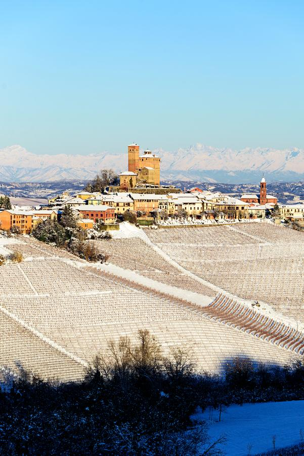 Serralunga castle in langhe region of northern Italy in winter w stock photos