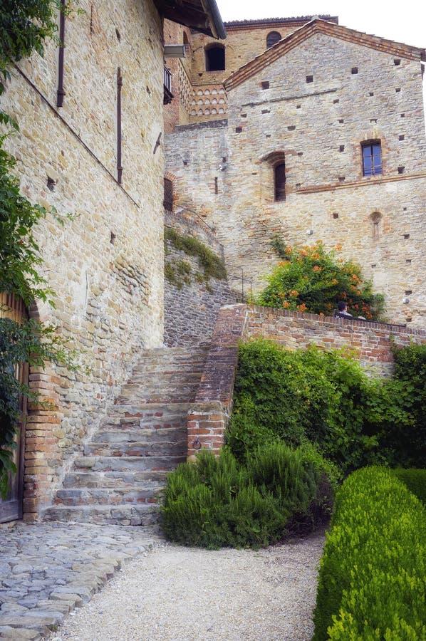 Serralunga d'Alba, castle detail. Color image stock images