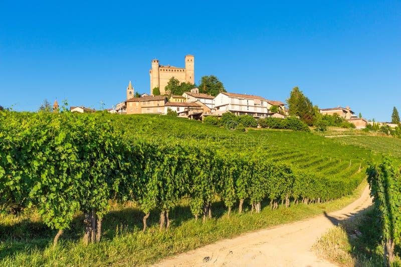 Serralunga d`Alba castle, Piedmont Italy stock photo
