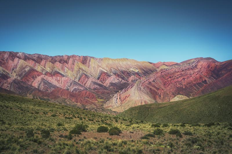 Serrania de Hornocal, the fourteen colors hill at Quebrada de Humahuaca - Humahuaca, Jujuy, Argentina royalty free stock images
