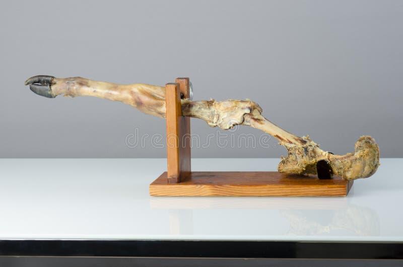 serrano火腿的腿被完成在木头 图库摄影