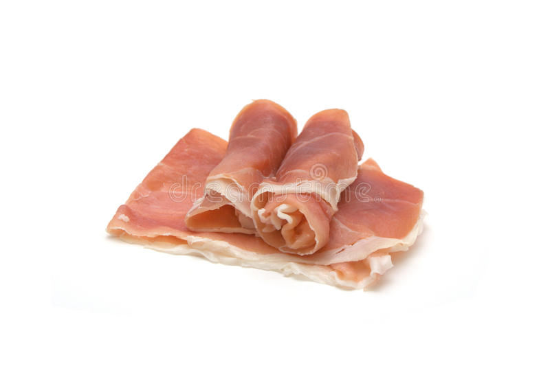 Serrano ham. Isolated on white stock images