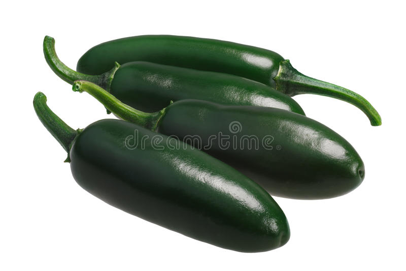 Serrano hot chile peppers, paths. Green unripe hot Serrano chile peppers Capsicum annuum. Clipping path royalty free stock image