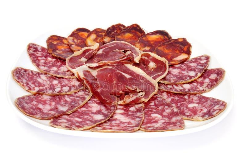 Serrano spagnolo del chorizo, del salame e del jamon immagine stock