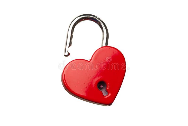 Serratura aperta a forma di cuore fotografia stock
