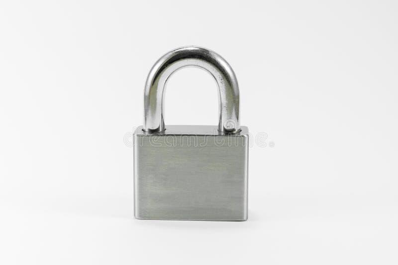 Serratura del metallo su priorità bassa bianca fotografia stock libera da diritti