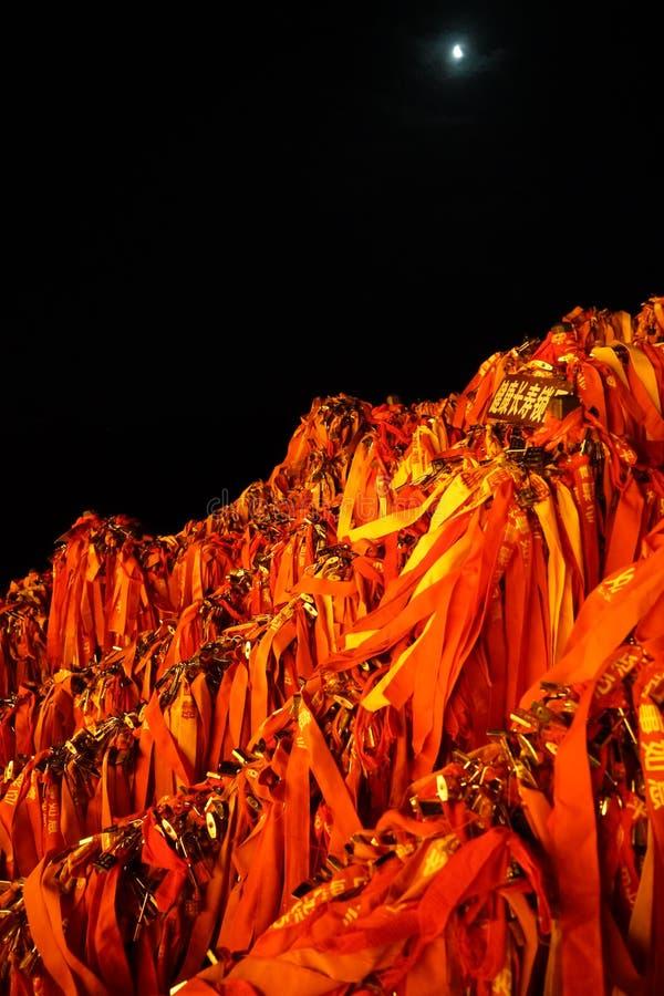 Serratura di desiderio di Huashan della montagna fotografia stock libera da diritti