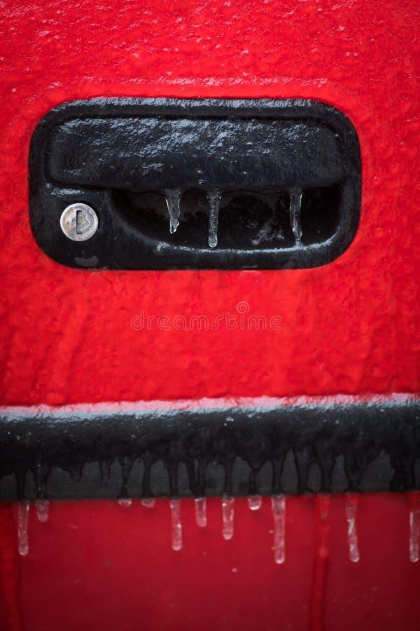 Serratura di porta congelata automobile fotografia stock libera da diritti