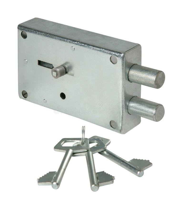 Serratura di porta inossidabile con le chiavi isolata fotografie stock libere da diritti