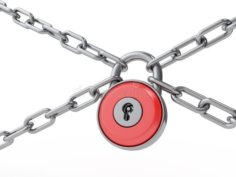 Serratura e catena. illustrazione di stock