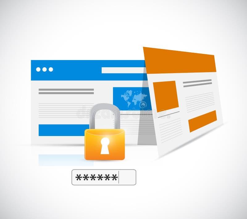 Serratura e parola d'ordine di sicurezza di Internet royalty illustrazione gratis