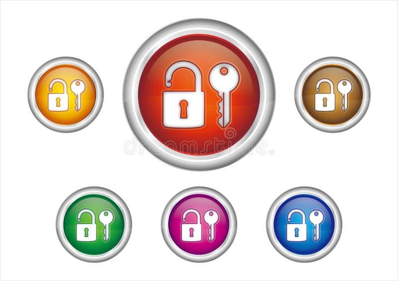 serratura ed icona di tasto illustrazione di stock