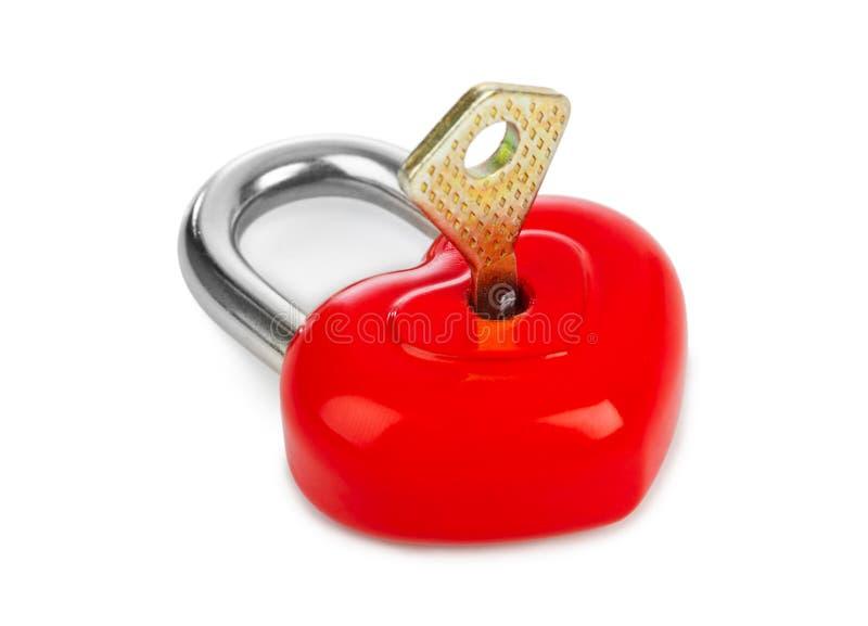 Serratura a forma di e chiave del cuore fotografie stock