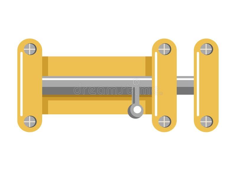 Serratura luminosa del metallo con il corpus giallo ed il fermo brillante illustrazione vettoriale