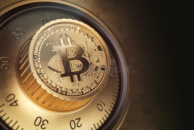 Serratura sicura con il simbolo di bitcoin Securit di cryptocurrency di Bitcoin royalty illustrazione gratis