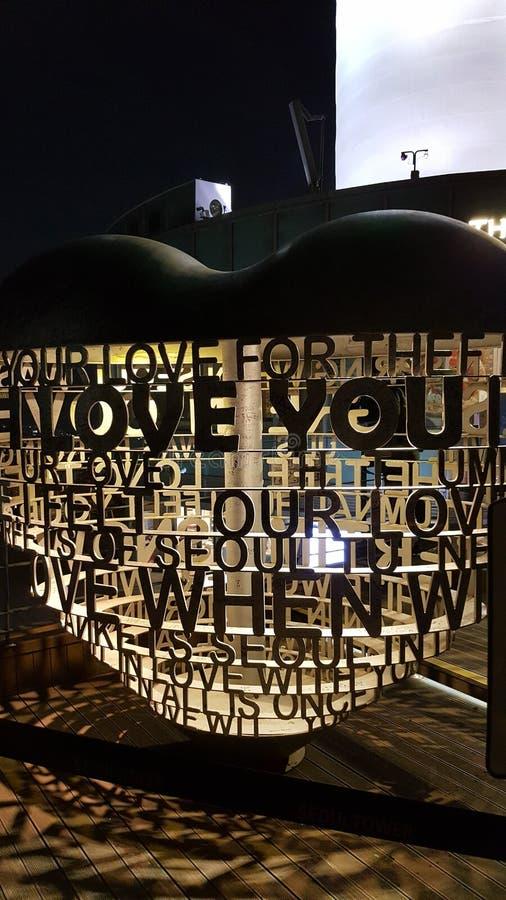 Serrature di amore della torre di Namsan immagini stock