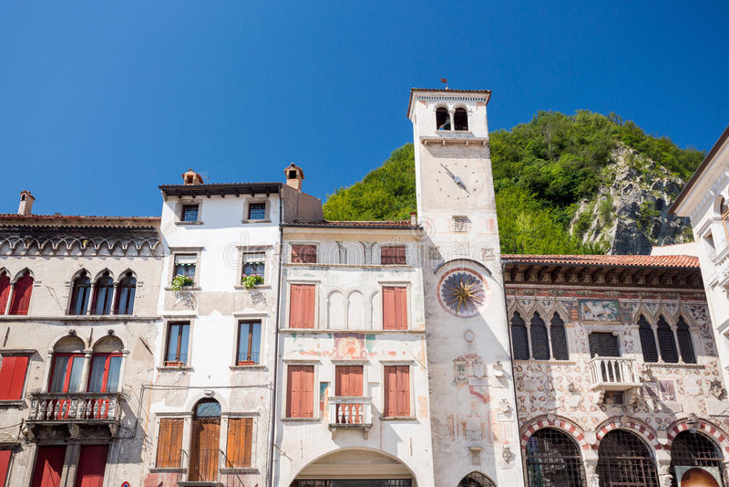 Serravalle buildings in Vittorio Veneto, Italy stock photos