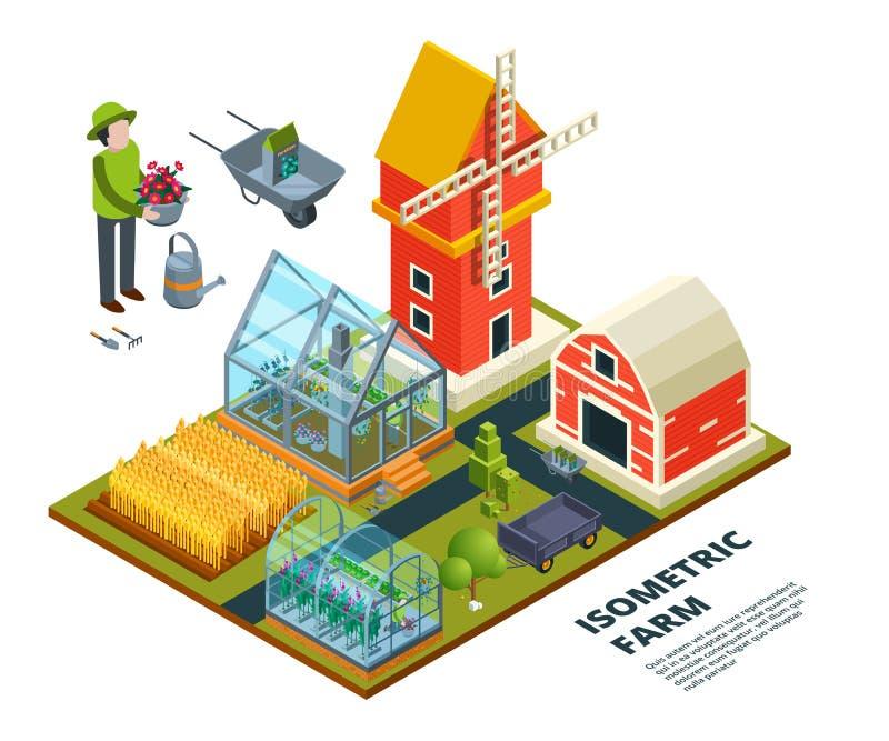 Serre chaude de ferme En cultivant le pays mettez en place le vecteur extérieur de maison de plantaion de légumes fruits d'usines illustration de vecteur