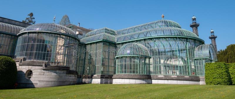 Serre reali a Laeken, Bruxelles, Belgio, composto di complesso di una serie di serre fotografia stock libera da diritti