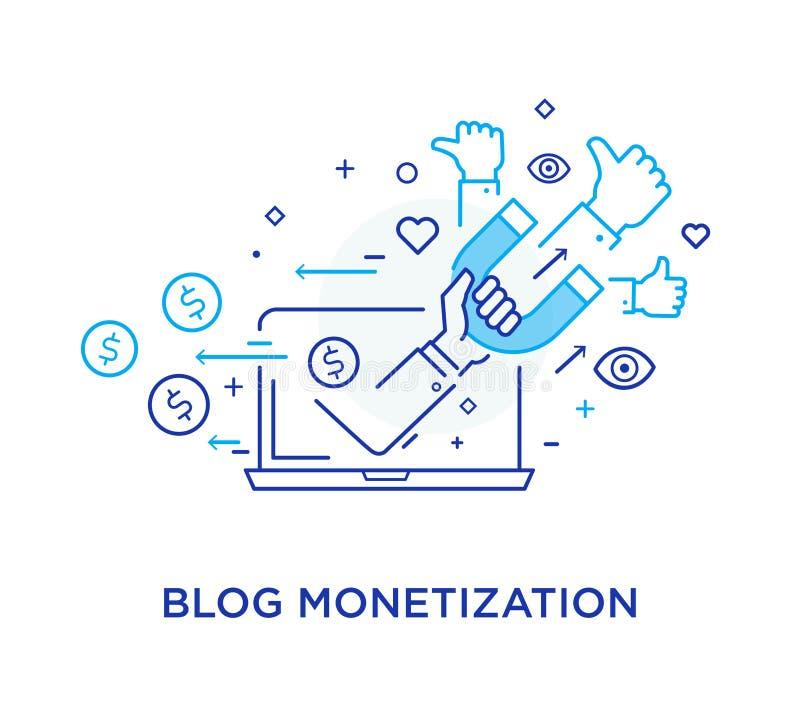 Serrer la main bloguent monétisation Smartphone virtuel de communication Interaction de coopération Succès, coopération ligne illustration de vecteur