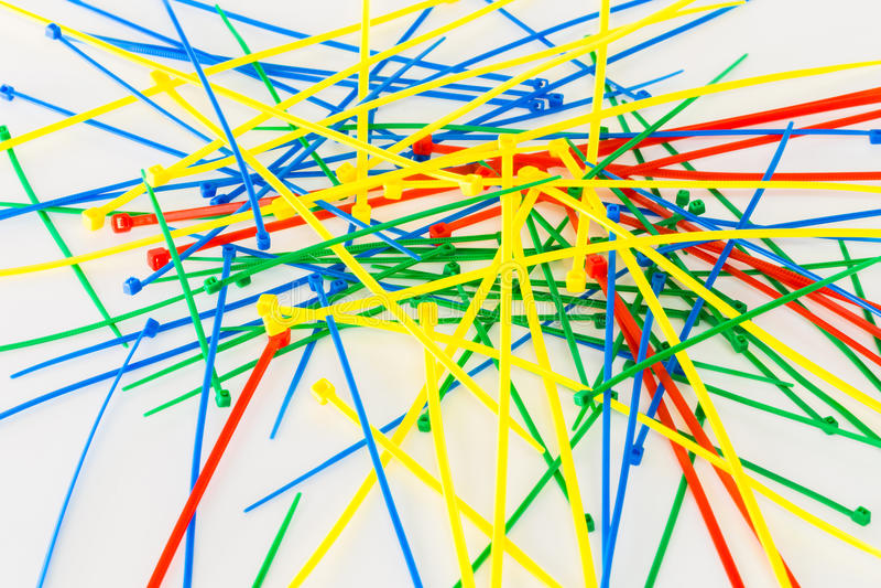 Serres-câble en nylon multicolores photographie stock