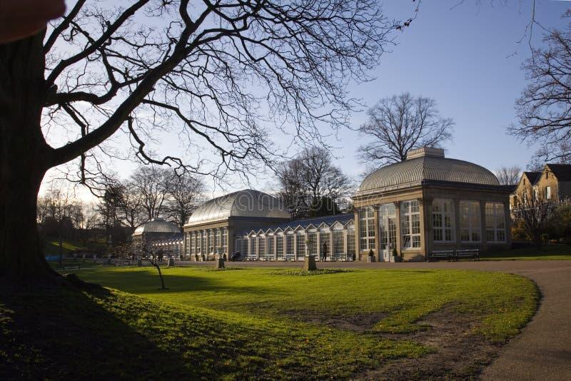 Serres de jardins botaniques de Sheffield image stock