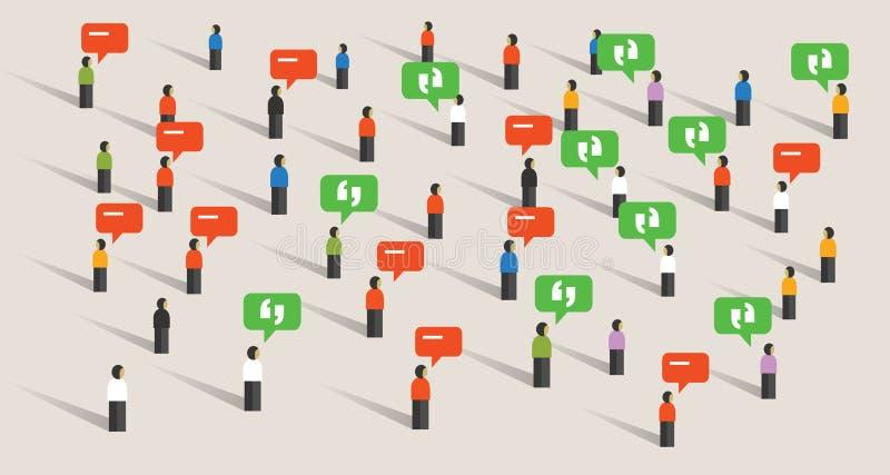 Serrez le bruit social parlant de communication de media de la parole de bulle de personnes écoutant le public illustration stock