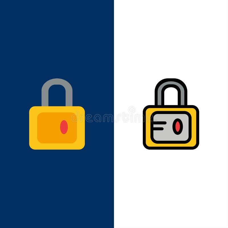 Serrure, école, icônes d'étude L'appartement et la ligne icône remplie ont placé le fond bleu de vecteur illustration stock