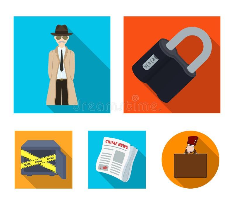 Serrure codée, l'aspect du détective, un journal avec des actualités criminelles, un coffre-fort entaillé Ensemble de crime et de illustration de vecteur