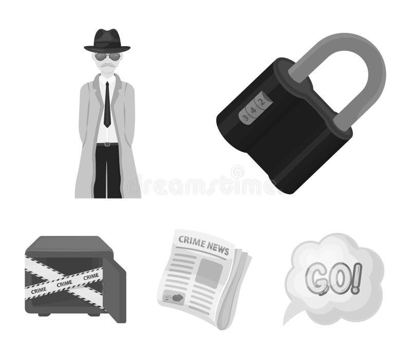 Serrure codée, l'aspect du détective, un journal avec des actualités criminelles, un coffre-fort entaillé Ensemble de crime et de illustration libre de droits